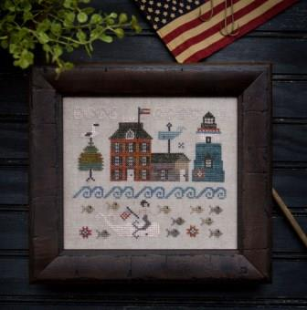 Plum Street Samplers - Summer in Nantucket-Plum Street Samplers - Summer in Nantucket, MERMAID, SAILING, ocean, waves, weather vane, cross stitch