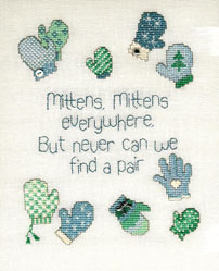 Sue Hillis Designs - Mittens, Mittens - Cross Stitch Pattern with Charms