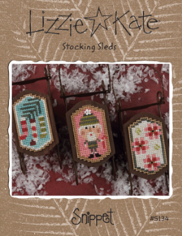 Lizzie Kate - Sleds - Stocking Sleds-Lizzie Kate - Sleds - Stocking Sleds, ornaments, Christmas, Christmas tree, cross stitch