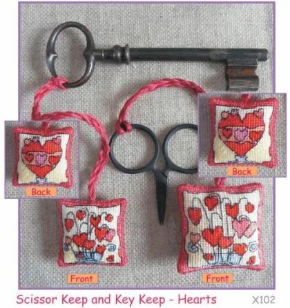 Michael Powell Art - Scissor/Key Keep Hearts Kit-Michael Powell Art - ScissorKey Keep Hearts Kit, hearts, love, scissor fob, cross stitch