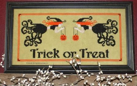 Needle Bling Designs - Trick or Treat-Needle Bling Designs, Trick or Treat, witches, Halloween, spiders, pumpkins, Halloween candy, Cross Stitch Pattern