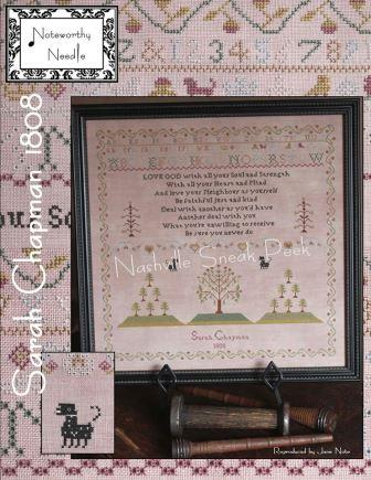 Noteworthy Needle - Sarah Chapman 1808-Noteworthy Needle - Sarah Chapman 1808, sampler, eyelets