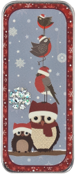 Just Nan - Winter Birds Needle Slide-Just Nan - Winter Birds Needle Slide, owls, needles, magnet, cross stitch,