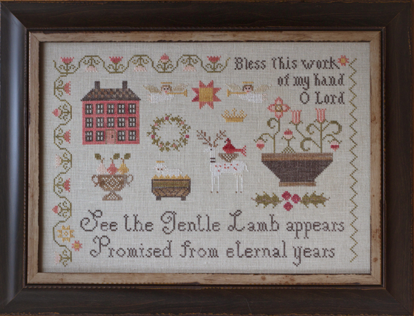 Plum Street Samplers - Promised Lamb - Cross Stitch Pattern-Plum Street Samplers, Promised Lamb, prayers, sampler, Jesus, angels, animals, flowers, Cross Stitch Pattern