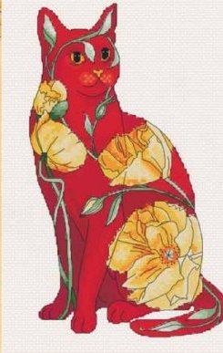 Lena Lawson Needlearts - Flower Cats Collection - California Poppy Cat - Cross Stitch Chart