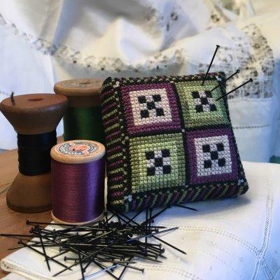 The Purple Thread - Crabtree Remembered Kit-The Purple Thread - Crabtree Remembered Kit, squares, cross stitch, pin cushion, kits,
