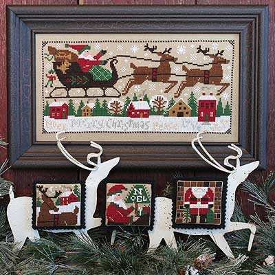 Prairie Schooler - Christmas Eve-Prairie Schooler, Christmas Eve, reindeer, ornaments, Santa Claus, toys, chimney, merry Christmas, children, Santas toy bag, sleigh, Rudolf the red nosed reindeer, Cross Stitch Pattern