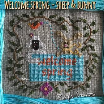 Romy's Creations - Welcome Spring - Sheep & Bunny-Romys Creations - Welcome Spring - Sheep  Bunny, spring, Easter, flowers, animals, cross stitch,