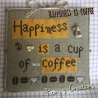 Romy's Creations - Happiness is Coffee-Romys Creations - Happiness is Coffee, cup of joe, coffee, morning, drink, cross stitch, coffee beans