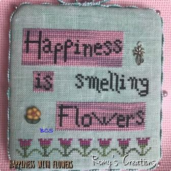 Romy's Creations - Happiness with Flowers-Romys Creations - Happiness with Flowers, smelling flowers, spring, cross stitch, buttons