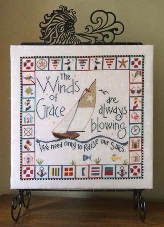 SamSarah Design Studio - Winds of Grace - Cross Stitch Pattern-SamSarah Design Studio, Winds of Grace, Sri Romankrishna, old man wind, nautical,ocean, kite, boats,seagull, starfish, sunglasses, cross Stitch Pattern