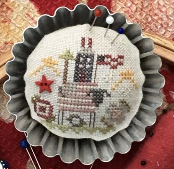 Shepherd's Bush - Little Blue House Tin-Shepherds Bush - Little Blue House Tin, house, cross stitch, pastry tart, tin,