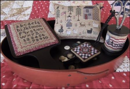 The Scarlett House - American Homestead Sewing Set - EXCLUSIVE-The Scarlett House - American Homestead, pin cushion, americana, scissor keep, cross stitch