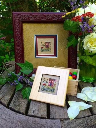 Shepherd's Bush - Summer Box - Cross Stitch Kit-Shepherds Bush, Summer Box, summer house, cottage, American flag, flowers, summertime, sunshine,  Cross Stitch Kit