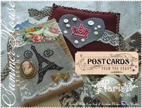 Summer House Stitche Workes - Postcards from the Heart  #1 - Paris - Cross Stitch Pattern