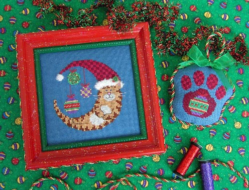 Stitchy Kitty - Christmas Kitty Moon - Cross Stitch Pattern