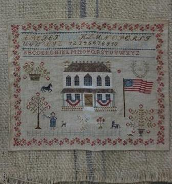 Stacy Nash Primitives - Summer at Hollyberry Farm - Cross Stitch Pattern-Stacy Nash Primitives, Summer at Hollyberry Farm, july, summertime, children, picnic, family, patriotic, American flag, Cross Stitch Pattern