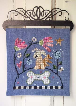 SamSarah Design Studio - Over the Hill - Part 4 - Pup!-SamSarah Design Studio - Over the Hill, Pup, flowers, bone, cross stitch,