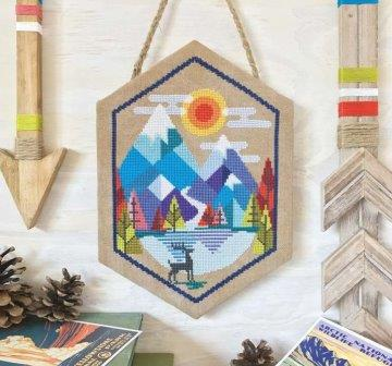 Satsuma Street - Alpine-Satsuma Street - Alpine, snow, skiing, deer, mountains, cross stitch