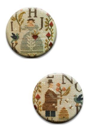 Stitch Dots - Summer Schoolhouse - Lessons in Abecedarian Part 2 - Needle Nannies by With thy Needle and Thread-Stitch Dots - Summer Schoolhouse - Lessons in Abecedarian Part 2 - Needle Nannies by With thy Needle and Thread, lady, man, alphabet, samplers, cross stitch,