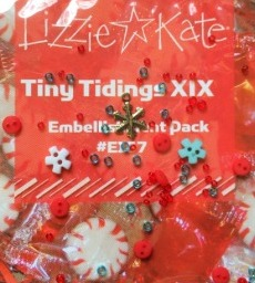 Lizzie Kate - Tiny Tidings XIX - Embellishment Pack  E167-Lizzie Kate, Tiny Tidings XIX, Embellishment Pack # E167, Christmas, ornaments, beads, peppermint button,