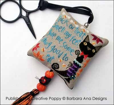 Barbara Ana Designs - Trick or Treat-Barbara Ana Designs,Trick or Treat,Cross, Stitch, Pattern,Halloween, cat, scissor fob, boot