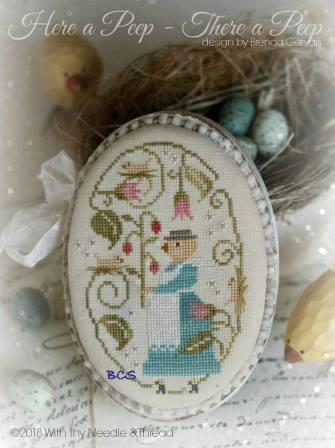 With Thy Needle & Thread - Here a Peep - There a Peep-With Thy Needle  Thread - Here a Peep - There a Peep, Easter, chick, springtime, flowers, cross stitch