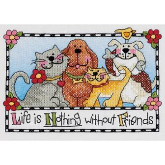 Dimensions - Life Is Nothing Without Friends - Mini Stamped Cross Stitch Kit