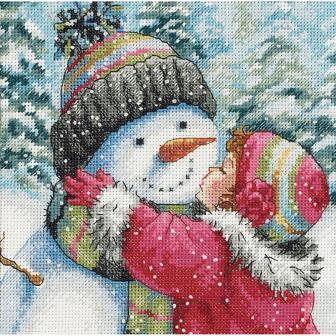 Dimensions - A Kiss For Snowman - Cross Stitch Kit-Dimensions - A Kiss For Snowman - Cross Stitch Kit, winter, snow, girl, Christmas, cross stitch