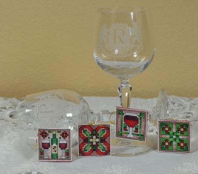 Frony Ritter Designs - Wine Charms - Cross Stitch Kit-Frony Ritter Designs, Wine Charms, wine glass charms, geometric, Cross Stitch Pattern