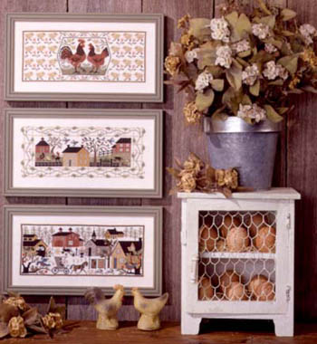 Prairie Schooler - Village Green-Prairie Schooler - Village Green, chickens, town, neighborhood, primitive, farms, chicken coop, cross stitch