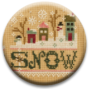 Stitch Dots - Snow Needle Nanny by Lizzie Kate-Stitch Dots - Snow Needle Nanny by Lizzie Kate, house, winter, snowing, magnet, cross stitch