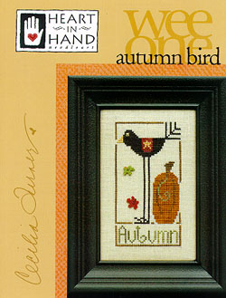 Heart in Hand Needleart - Wee One - Autumn Bird-Heart in Hand Needleart - Wee One - Autumn Bird pumpkin, leaves, fall, cross stitch