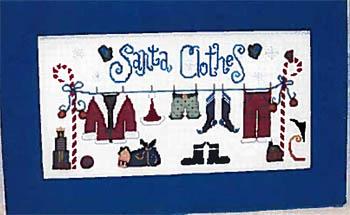 Raise the Roof Designs - Santa Clothes-Raise the Roof Designs - Santa Clothes, Santa Claus, clothesline, Christmas, laundry, cross stitch