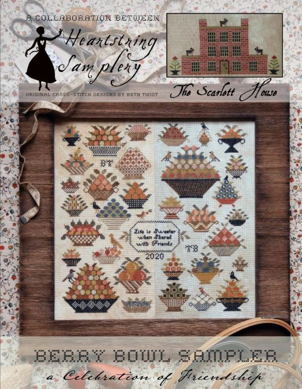 Heartstring Samplery - Berry Bowl Sampler-Heartstring Samplery - Berry Bowl Sampler, berries, homemaking, bowls, kitchen, berry picking, harvest, cross stitch
