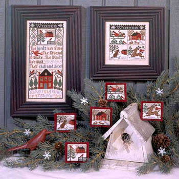 Prairie Schooler - Winter Wind-Prairie Schooler - Winter Wind, birds, snow, barn, reindeer, sledding, ornaments, cross stitch