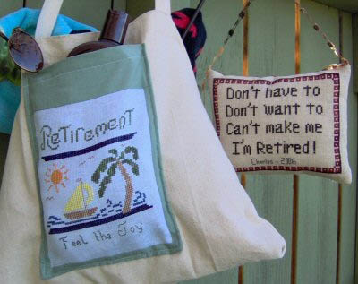 Designs by Lisa - Retirement-Designs by Lisa - Retirement, signs, feel the joy, relaxing, cross stitch
