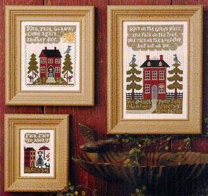 Prairie Schooler - Rain, Rain, Go Away-Prairie Schooler - Rain, Rain, Go Away, houses, trees, storms, cross stitch, country,