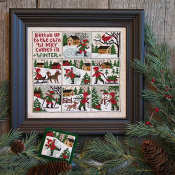 Prairie Schooler - Button Up-Prairie Schooler - Button Up, ornaments, winter, Christmas, sampler, snow, children, cross stitch