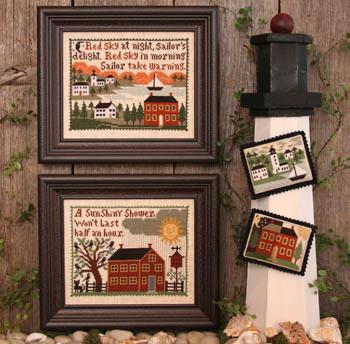Prairie Schooler - Weather Wise-Prairie Schooler - Weather Wise, seaside, sailboat, barn, farm, sun, weather vane, country, cross stitch