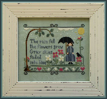 Little House Needleworks - The Rain Fell-Little House Needleworks - The Rain Fell, April showers, umbrella,  flowers, rain, lady, cross stitch