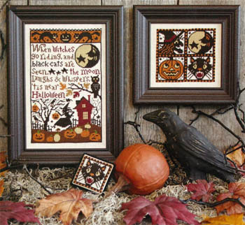Prairie Schooler - When Witches Go Riding-Prairie Schooler - When Witches Go Riding, Halloween, witch, pumpkin, black cat, moon, trick or treat, cross stitch