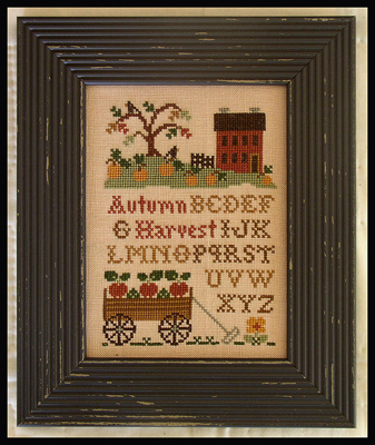 Little House Needleworks - Autumn Harvest-Little House Needleworks - Autumn Harvest, wagon, fall, apples, home, pumpkin, cross stitch