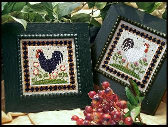 Little House Needleworks - Two Roosters-Little House Needleworks - Two Roosters, farm, animals, country, birds. cross stitch