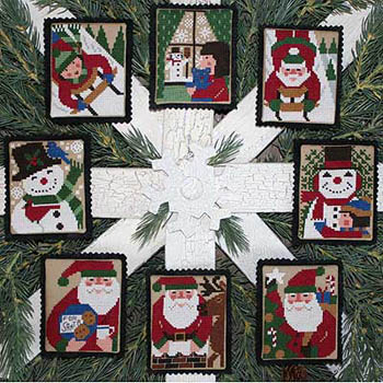 Prairie Schooler - Holly Days-Prairie Schooler - Holly Days, Christmas, Ornaments, Santa Claus, snow, cross stitch