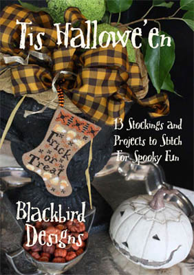 Blackbird Designs - Tis Hallowe'en-Blackbird Designs - Tis Halloween, stockings, Halloween, fall, pumpkins, candy corn, trick or treat, cross stitch