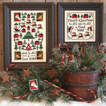Prairie Schooler - And To All A Good Night-Prairie Schooler - And To All A Good Night, Santa Claus, Christmas, Christmas Eve, Rudolf, Christmas trees, Cross stitch