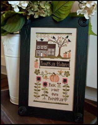 Little House Needleworks - Pumpkin Hollow Farms-Little House Needleworks, Pumpkin Hollow Farms,pumpkin, fall, flowers, black crow, farm, pumpkin picking, jack o lantern, halloween, leaves, Cross Stitch Pattern,