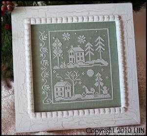 Little House Needleworks - Snow White-Little House Needleworks - Snow White, snowy nights, winter, blue, white, moon, cross stitch