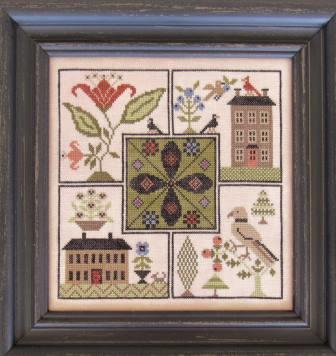 The Scarlett House - Center Point Sampler-The Scarlett House - Center Point Sampler, birds, houses, cross stitch, samplers,